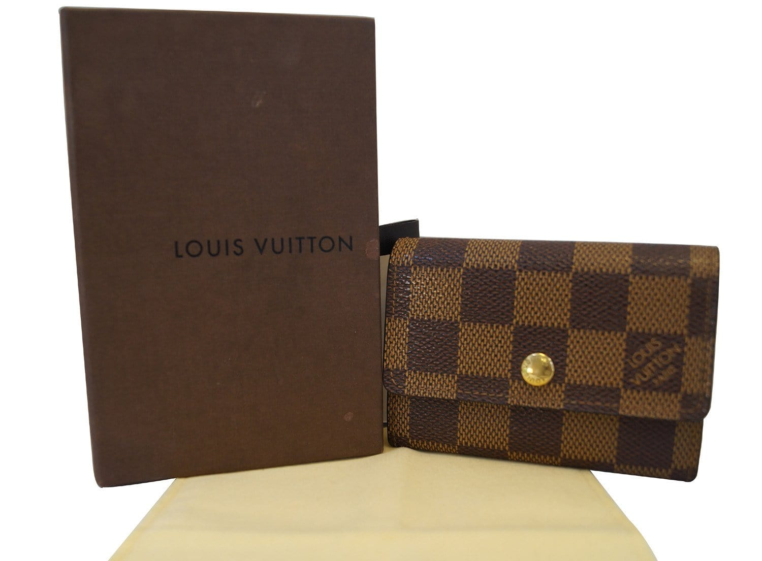 451338a39be0b LOUIS VUITTON Damier Ebene Porte Monnaie Plat Coin Purse Wallet - Final Call
