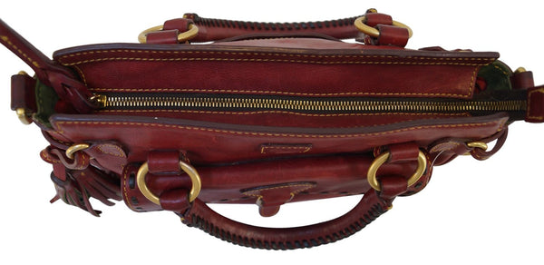 Dooney and Bourke Bags - Leather Red Shoulder Hobo Bag - gold zip