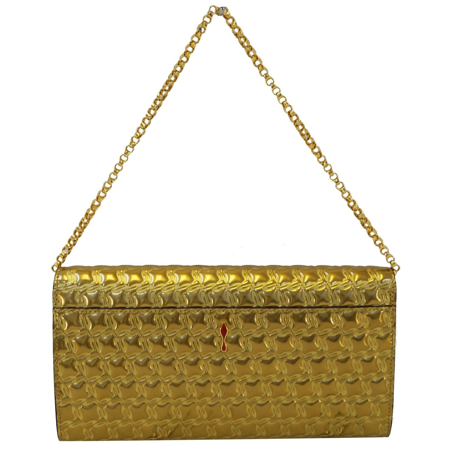 ff7863766e7 CHRISTIAN LOUBOUTIN Vero Dodat Gold Quilted Clutch Shoulder Bag - 30%