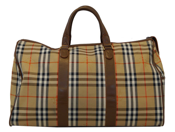 Burberry Travel Bag Nova Check Brown Leather Luggage  - front view