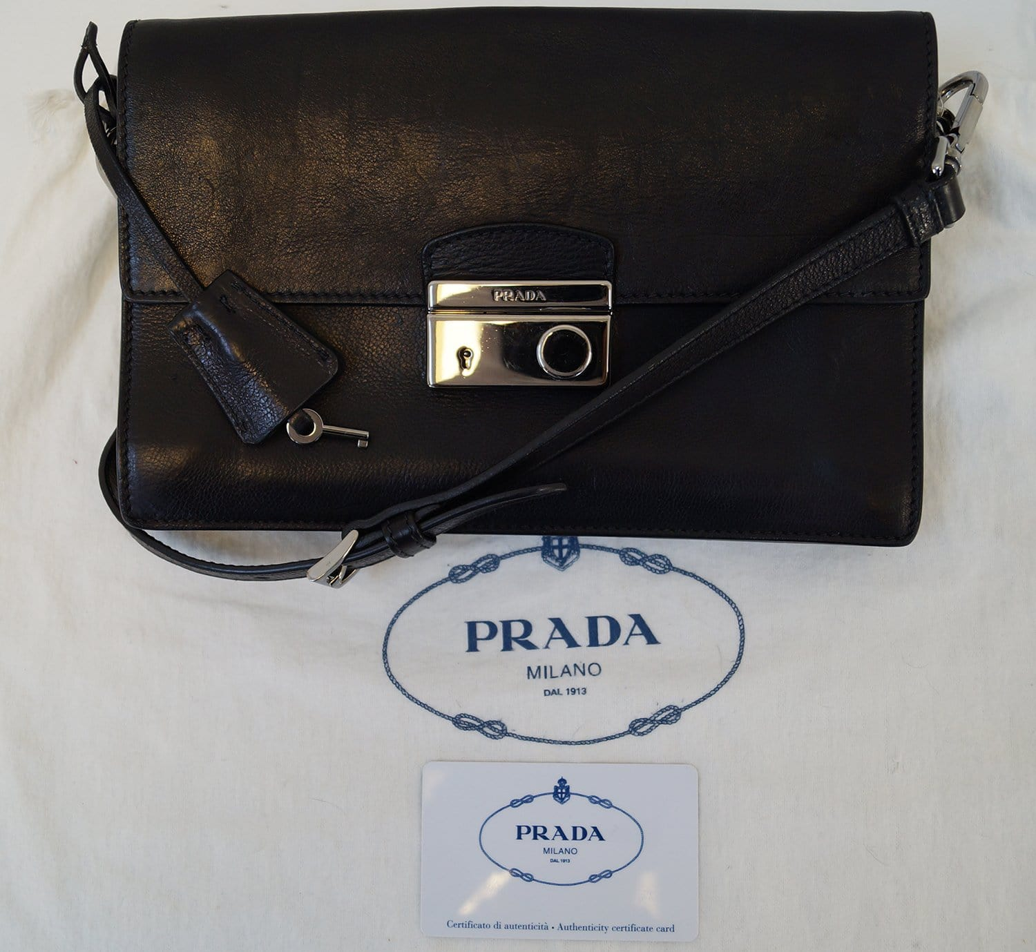 a7039cb8467e5 Authentic PRADA Saffiano Leather Black Crossbody Bag E3238