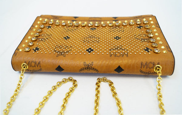 Authentic MCM Studded Spike Visetos Brown Wallet Crossbody