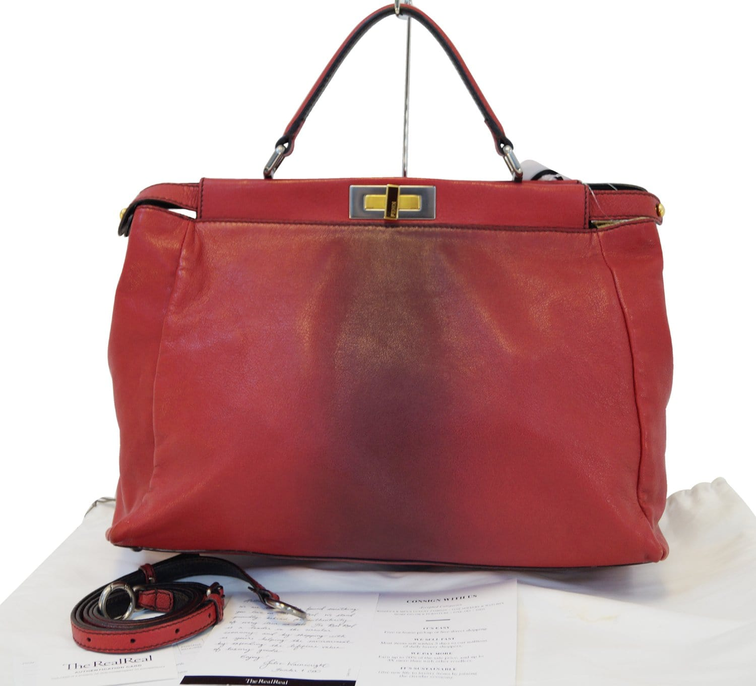 782ed3d2f130 FENDI Red Ombre Leather Peekaboo Large Satchel Bag