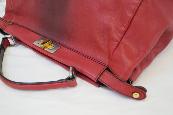 FENDI Red Ombre Leather Peekaboo Large Satchel Bag