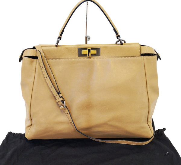FENDI Brown Ombre Leather Peekaboo Large Satchel Bag - 30% Off