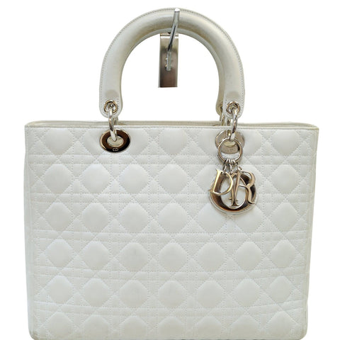 bef9980e52 CHRISTIAN DIOR White Lambskin Leather Large Lady Dior Shoulder Bag - FINAL  CALL