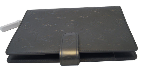 LOUIS VUITTON Monogram Mat Agenda MM Day Planner Cover Black