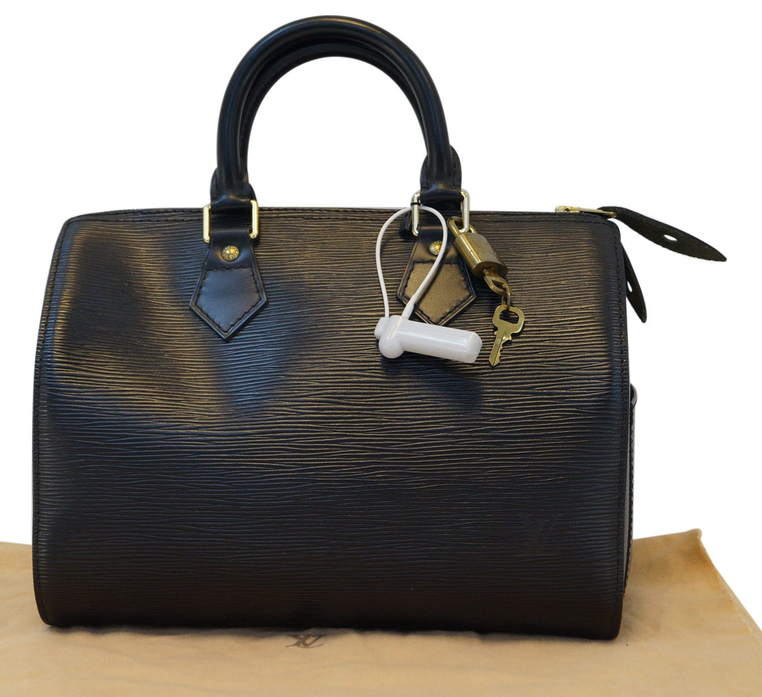 8e17ec08e418 LOUIS VUITTON Used HandBag Black Epi Leather Speedy 25 Satchel