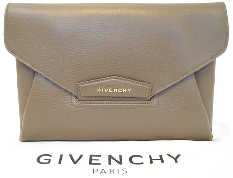 eea0e353cb GIVENCHY Taupe Textured Leather Antigona Envelope Clutch - 20% Off