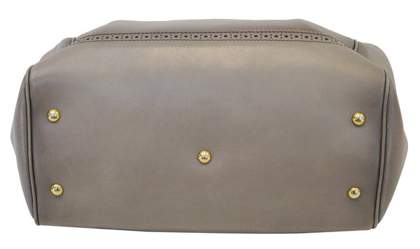 GUCCI Fango Leather Duilio Brogue Taupe Top Handle Bag