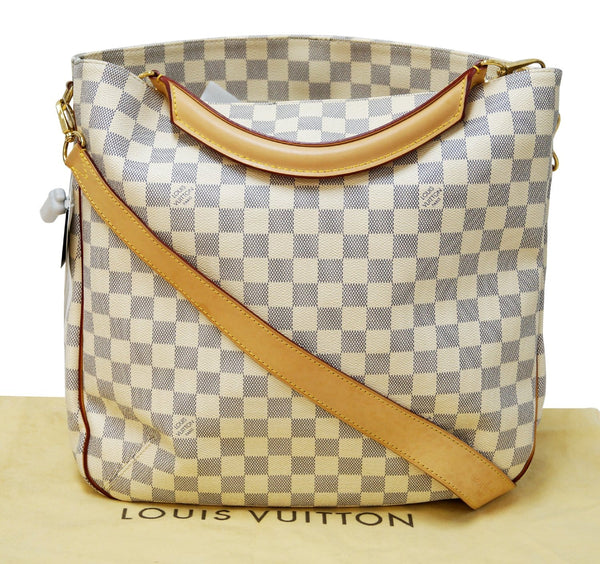 Authentic LOUIS VUITTON Soffi Damier Azur Canvas White Shoulder Handbag E3316