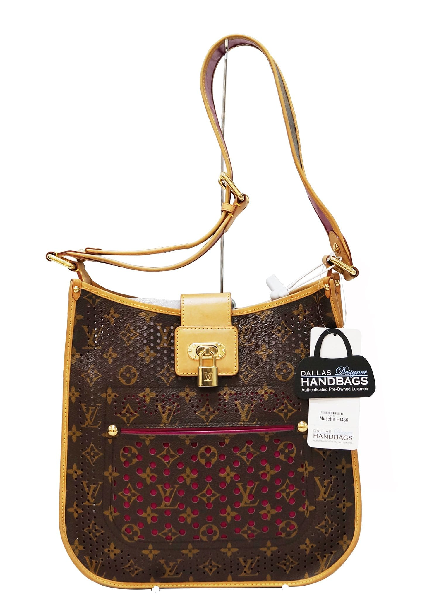 4cc5ad275f82 Authentic LOUIS VUITTON Monogram Perforated Musette Fuchsia Bag Limited  Edition