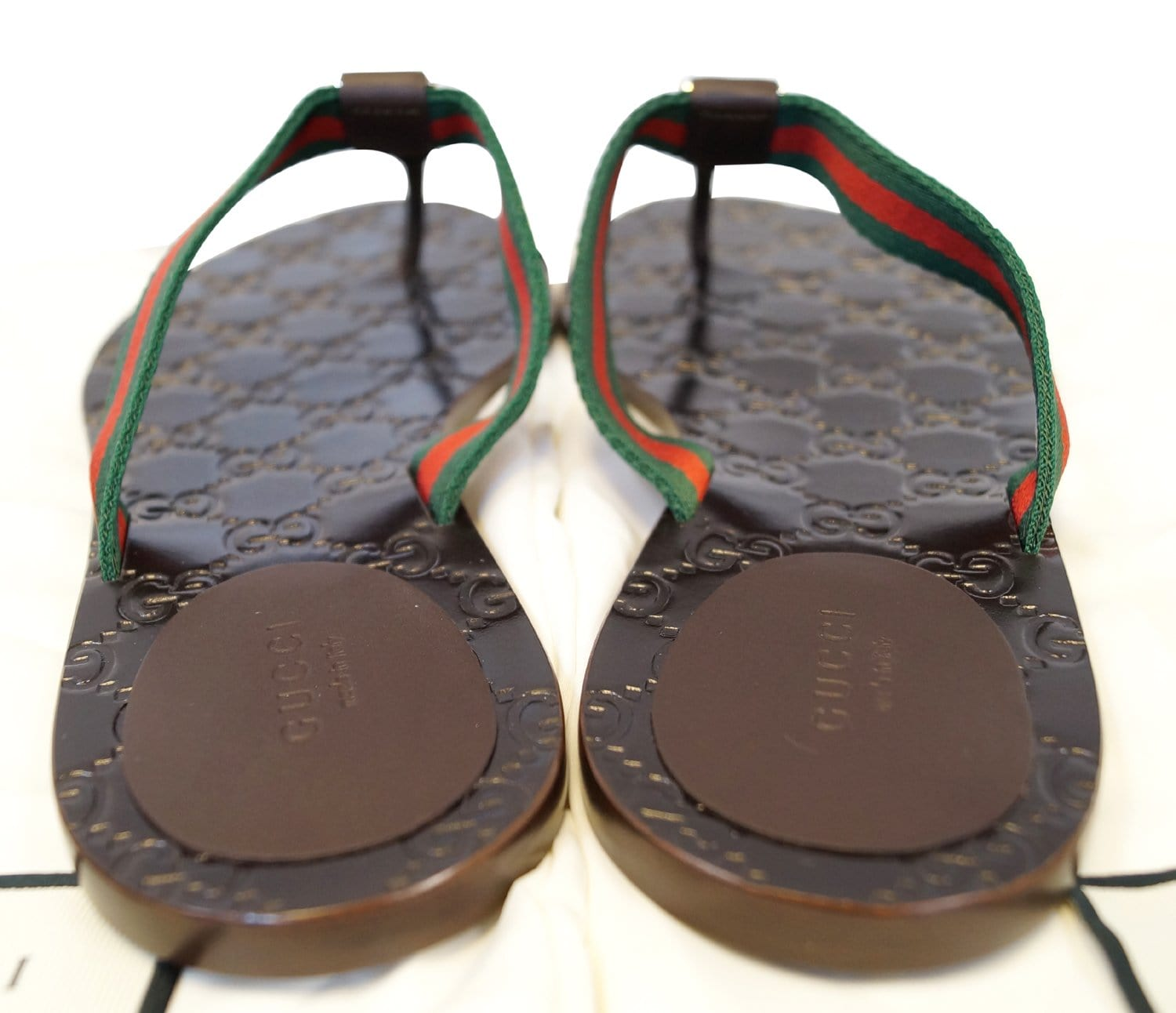 6373e824eef GUCCI Brown GG Thong Web Sandal Size 40.1 2 270374