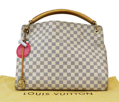 LOUIS VUITTON Damier Azur Artsy MM White Shoulder Bag