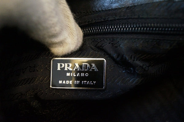 PRADA Milano Black Leather Hobo Shoulder Bag TT1209