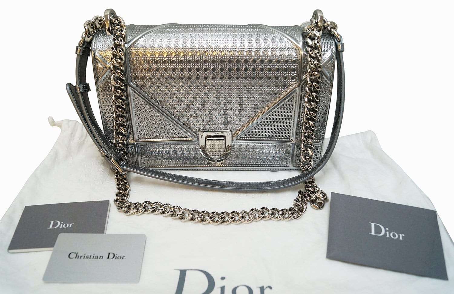 aa8e8fd05155 Authentic CHRISTIAN DIOR Diorama Metallic Silver Perforated Leather Bag  E2726