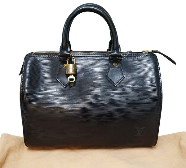LOUIS VUITTON Black Epi Leather Speedy 25 Handbag
