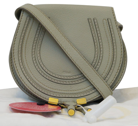 CHLOE Nut Pebbled Leather Small Marcie Mini Crossbody Bag TT1210