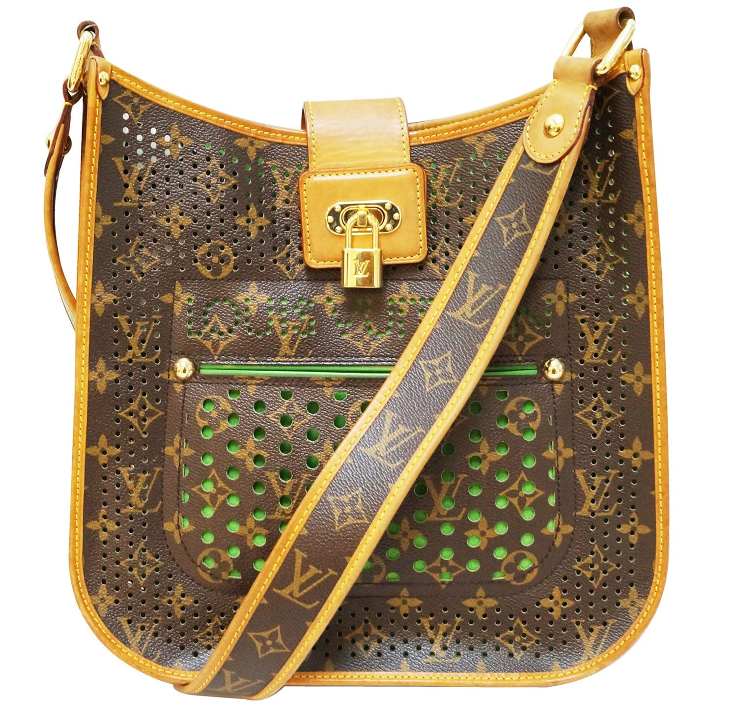 d2bf54a19ed3 Authentic LOUIS VUITTON Monogram Perforated Musette Green Bag Limited