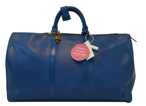 LOUIS VUITTON Epi Leather Blue Keepall 50 Travel Bag