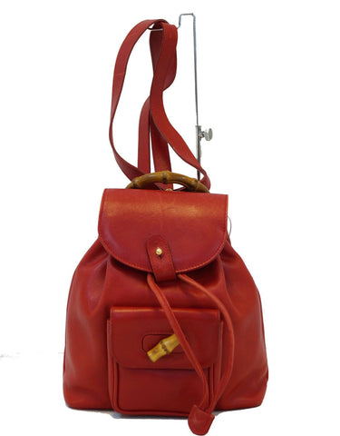 GUCCI Bamboo Leather Red Backpack Bag