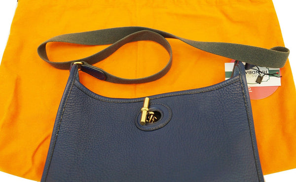 Hermes Navy Taurillon Clemence Leather Vespa PM Messenger Bag