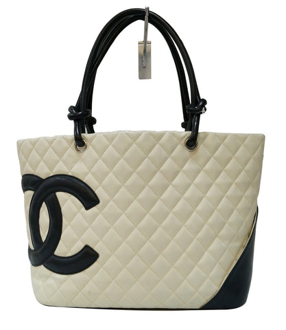 CHANEL White Quilted Leather Ligne Cambon Tote Bag