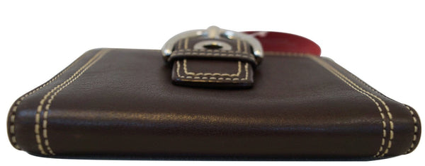 COACH Hamptons Soho Buckle Brown Leather Bifold Compact Wallet - Final Call