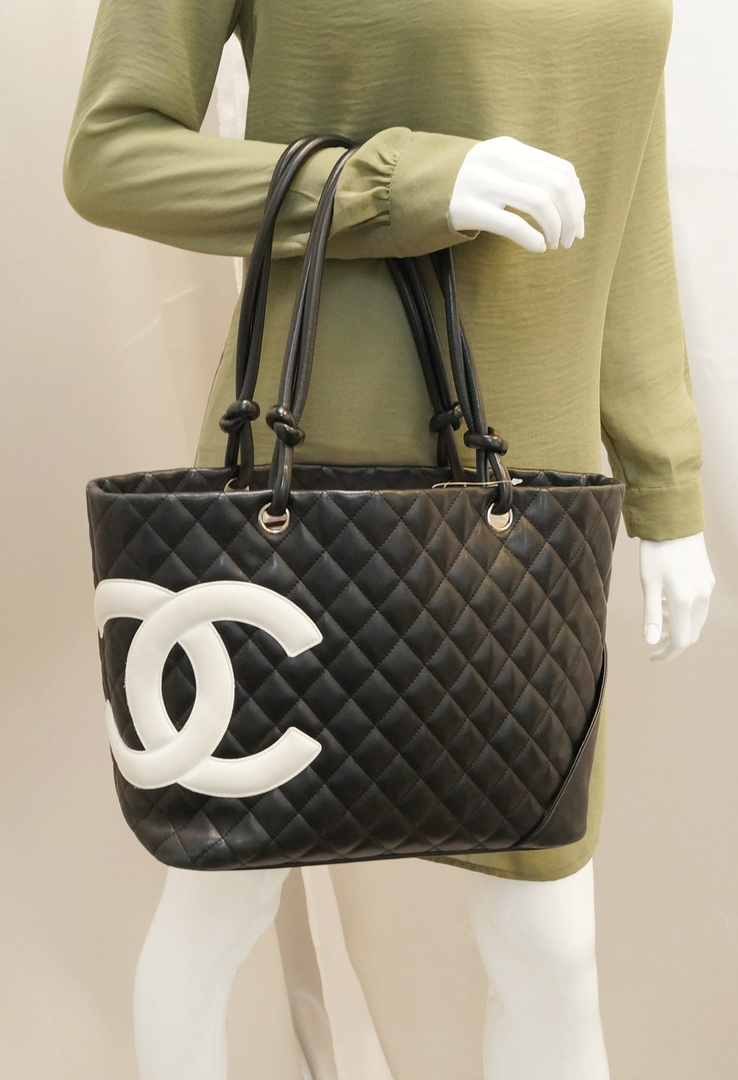 c0883e875f47b CHANEL Black Quilted Leather Large Cambon Tote Bag