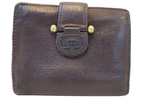 FOSSIL Trifold Dark Brown Leather Wallet E2974