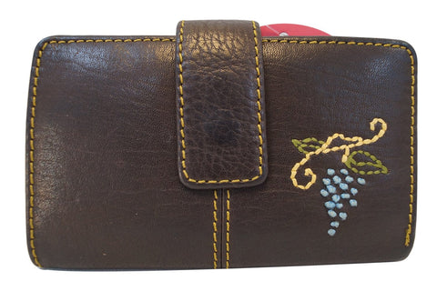FOSSIL  Dark Brown Leather Grape Applique Trifold Wallet