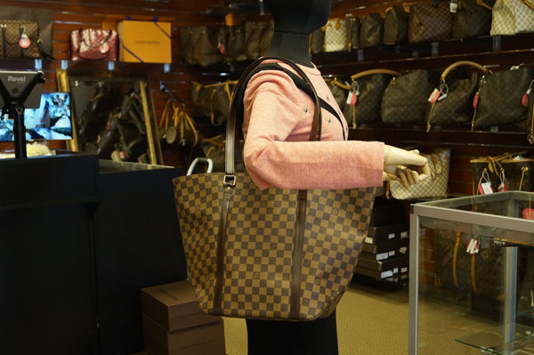 LOUIS VUITTON Damier Ebene Sac Shopping Limited Tote Bag