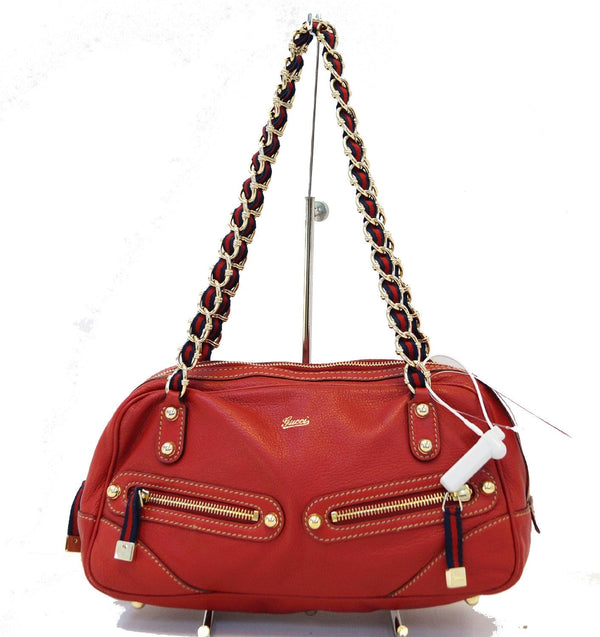 Gucci Shoulder Bag Cruise Red Leather Chain