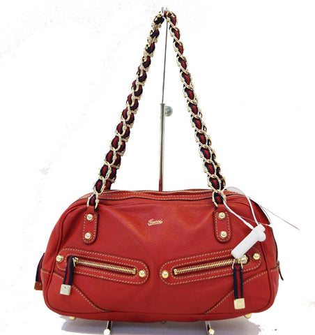 Authentic GUCCI Cruise Red Leather Chain Shoulder Bag TT1244