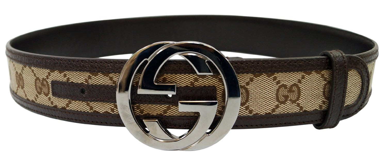 e070536c30c GUCCI Leather Monogram Interlocking G Belt Dark Brown Size 85 34