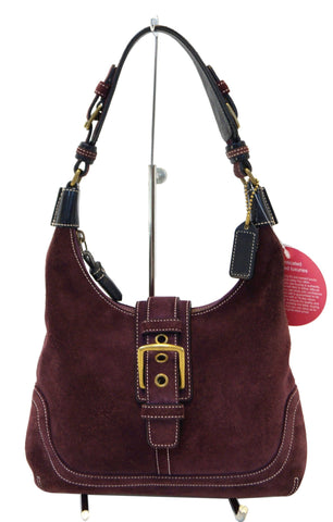 COACH Maroon Suede Leather Shoulder Handbag E2979
