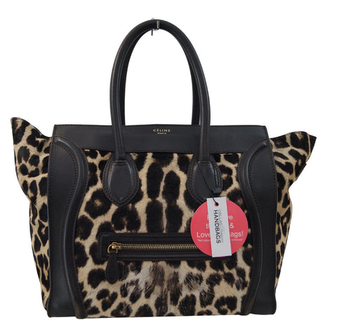 Celine Brown Ponyhair Leopard Print Luggage Tote - Final Call