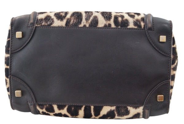 Celine Brown Ponyhair Leopard Print Luggage Tote - Last Call