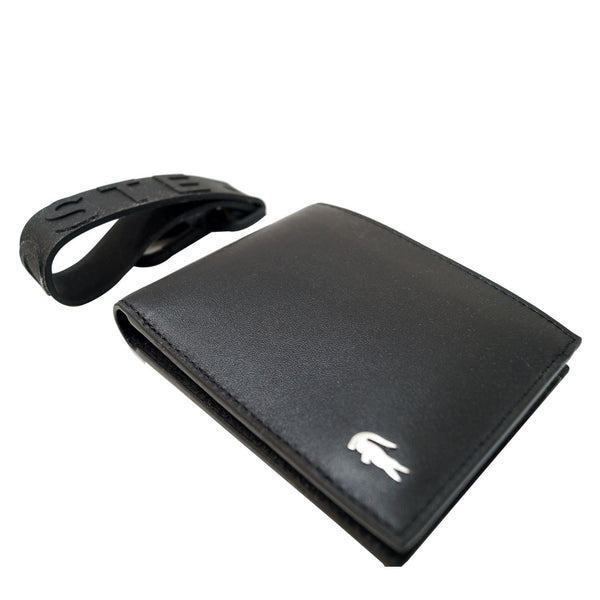 Lacoste Men's Fitzgerald Leather Wallet Key Chain Set Black-US