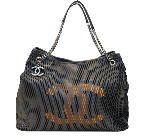 CHANEL Calfskin Laser Cut Perforated CC Tote Black