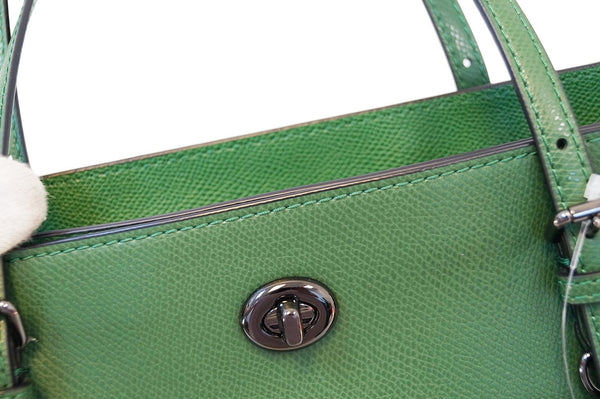 COACH Crossgrain Updated Turnlock Green Tote Shoulder Bag E3028