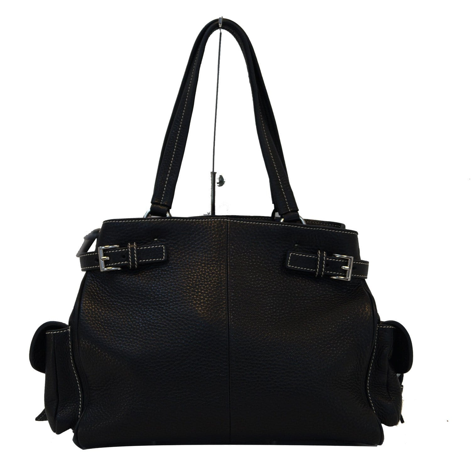 bdd43bbafe Authentic Prada Vitello Daino Black Calfskin Leather Shoulder Bag ...