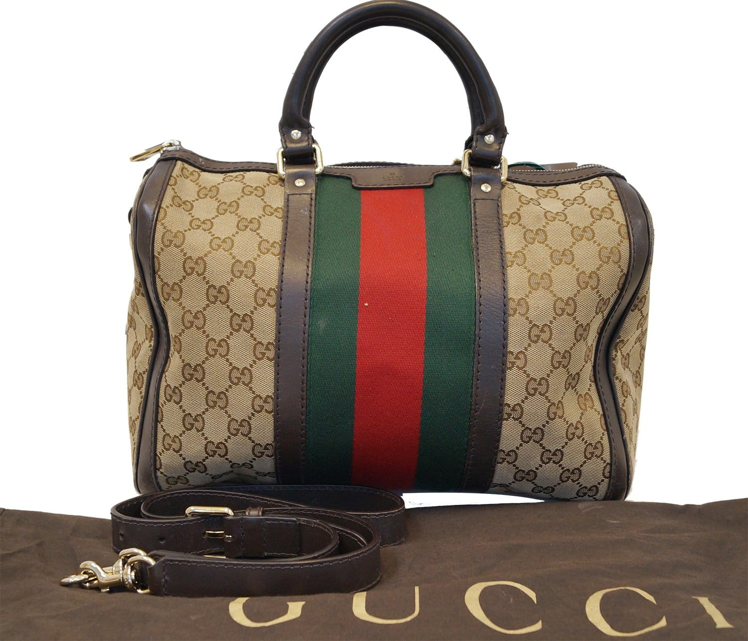 5fc6caafd2b GUCCI Vintage Web Medium Original GG Boston Bag with Signature Web