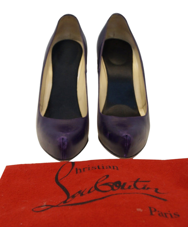 Christian Louboutin Purple Rolandzip Calf Seta Platforms