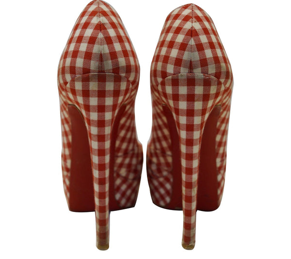 Christian Louboutin Greissimo Gingham Checkered Peep Toe Pumps