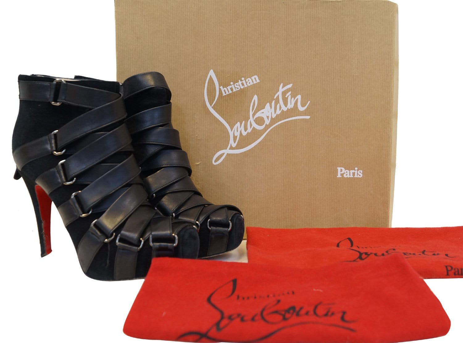 size 40 8eeec 0284f Christian Louboutin Nitoinimoi Bandage 120mm Ankle Boots Size 35.1/2 - Sale