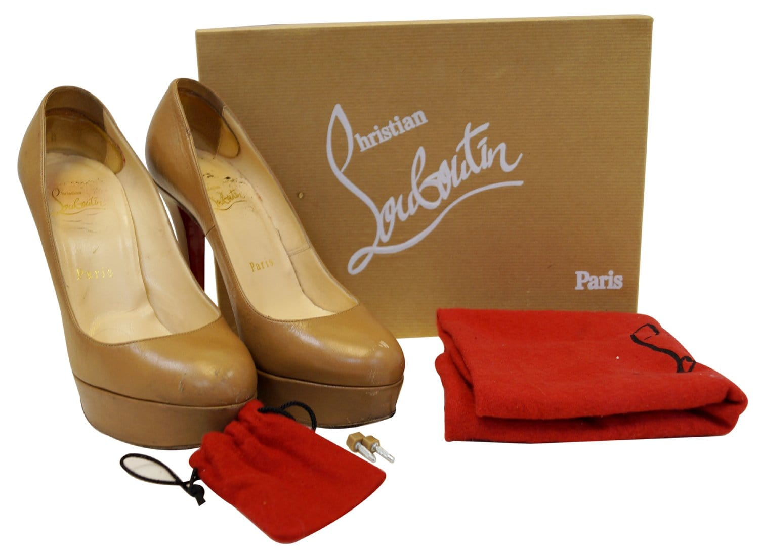 new products df846 2efbb Christian Louboutin Bianca 140 Platform Leather Camel Pumps - Sale