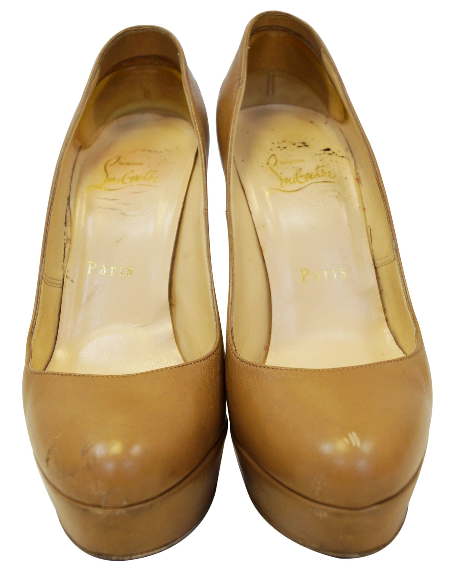 d76cf7e1b95 Christian Louboutin Bianca 140 Platform Leather Camel Pumps