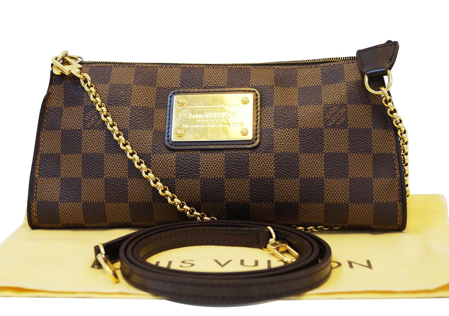 c3a736bf486b LOUIS VUITTON Damier Ebene Pochette Eva Clutch Shoulder Bag