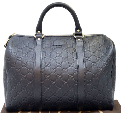 GUCCI 265697 GG Guccissima Leather Black Boston Bag